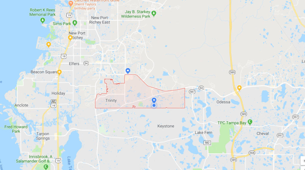 Trinity Florida map of vip pest control area serviced